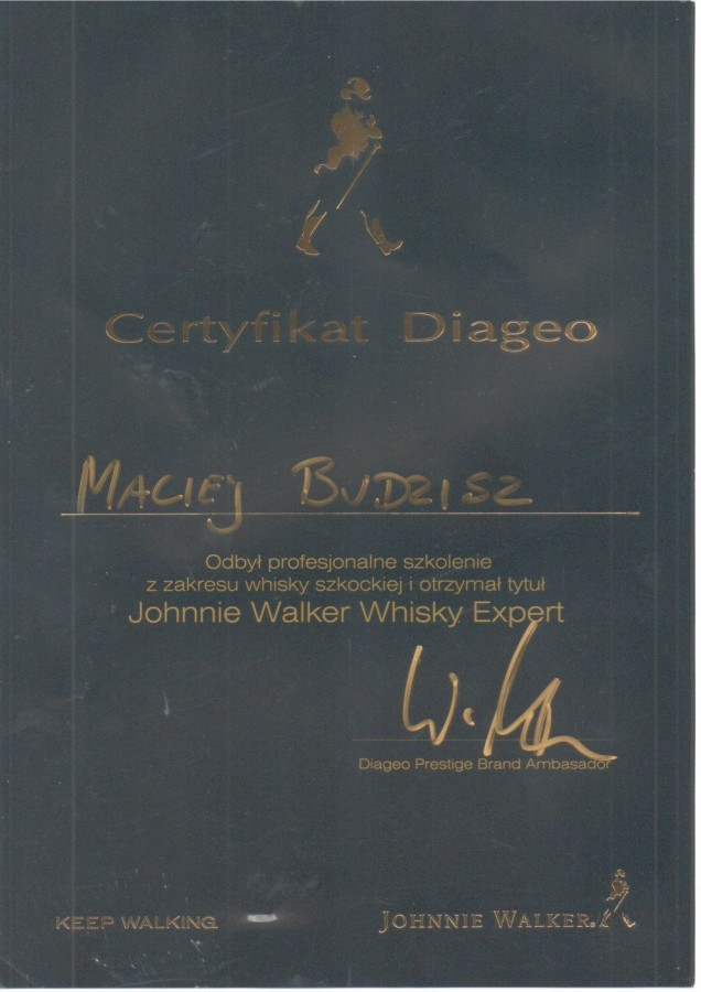 Certyfikat ukończeniu kursu barmańskiego